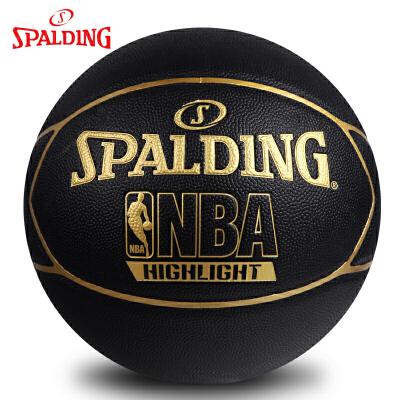 斯伯丁篮球 Highlight金色LOGO室内室外PU篮球74-634Y 买就送四配件:球袋、打气筒、球针、网兜!