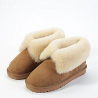 雪地靴女2018新款羊皮毛一�w澳洲�羊毛秋冬季潮女士真皮短筒棉鞋SN4216