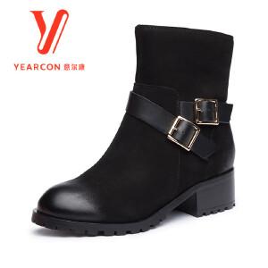 意尔康女鞋2017冬季时尚短筒靴加绒扣带中跟粗跟优雅侧拉链女短靴子