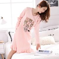 春秋季韩版女士长袖睡裙加大码可爱卡通全棉睡衣裙子家居服冬