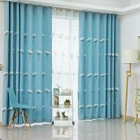 韩式田园绣花飘窗窗帘成品布料客厅卧室儿童房落地窗隔热遮光布