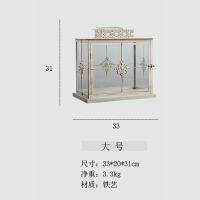 欧式复古铁艺玻璃落地风灯烛台家居蜡烛台装饰品摆件婚庆生日摆饰