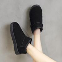雪地靴女冬季一脚蹬短筒懒人平底短靴学生加绒面包鞋棉鞋