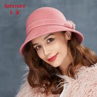 卡蒙圆顶礼帽女式毛呢帽子冬季韩版时尚保暖羊毛帽欧美毛毡帽盆帽 2773