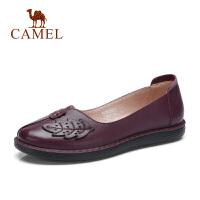 camel妈妈单鞋女秋新款中老年真皮软底妈妈鞋舒适平底大码中年女鞋