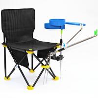 钓鱼椅 可折叠轻便带炮台支架便携钓鱼凳 多功能不锈钢垂钓马扎小板凳户外台钓椅 黑色 套餐一