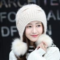 冬季双层保暖针织帽潮韩版新款兔毛帽子女冬天毛线帽纯色护耳帽