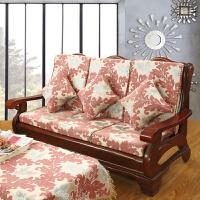 实木凉椅沙发坐垫夏天沙发垫带靠背防滑老式凉椅垫靠垫连体