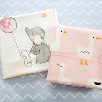 纯棉布料宝宝床品面料全棉斜纹布儿童婴儿床单被套卡通ins风