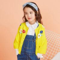 【1件3折到手价:65.7】moomoo童装女童毛衫外套2019新款春装纯棉洋气中大儿童针织开衫