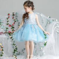 女童公主裙花童白色婚纱礼服儿童蓝色女孩演出服夏季