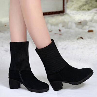 2018冬季新款中跟短靴女雪地靴女磨砂皮粗跟加绒保暖毛线女靴子