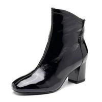 裸靴2018冬新品女鞋漆皮时尚通勤粗高跟坡跟短靴