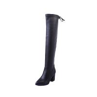 高筒靴过膝长靴弹力靴女粗跟高跟冬季2018新款骑士靴长筒靴女靴子真皮