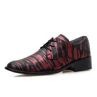 秋季新品鳄鱼条纹商务鞋男士尖头系带皮鞋发型师潮流休闲鞋 黑蓝色;黑红色;黑银色;黑金色