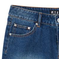 【2件3折到手价:59.7】美特斯邦威女拼块洗水牛仔长裤