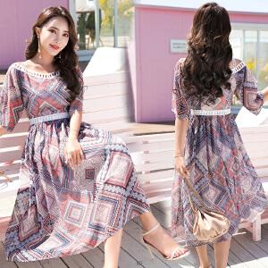 风轩衣度 2018年夏季中长款雪纺短袖甜美优雅韩版舒适个性连衣裙 2505-867
