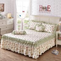 荷叶边床罩纯棉床裙式单件防滑床套床单1.5m1.8米2.0床 +2个枕套