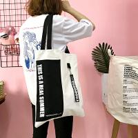 日系原宿风撞色字母单肩包小清新文艺大包帆布手提包购物袋女学生