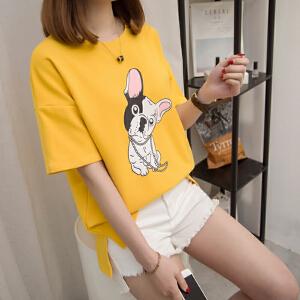2018新款女装夏季韩版圆领短袖纯棉百搭修身半袖带狗图案的t恤女