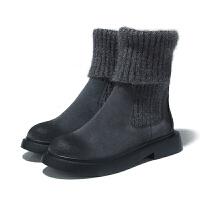 欧美2018冬季新款女鞋厚底圆头瘦瘦靴短靴毛线口平跟短筒雪地靴潮