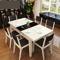 餐厅家具简约伸缩餐桌实木餐台钢化玻璃长方形餐桌p6t