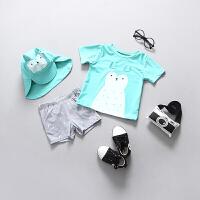 韩国儿童泳衣男童宝宝婴儿游泳衣小童游泳分体中童防晒冲浪服套装