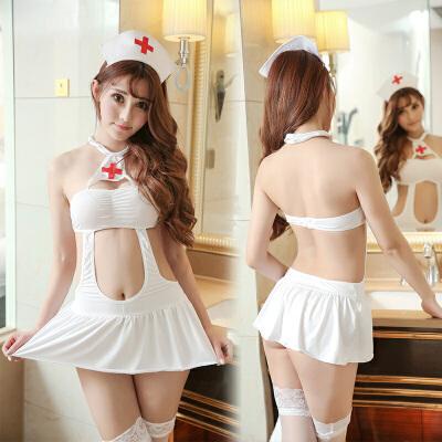 性感情趣内衣女制服诱惑骚开档露乳护士服扮演职业透明激情套装 先生,需要全身检查吗?
