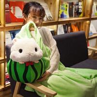 卡通变身仓鼠汽车抱枕被子两用珊瑚绒可爱韩国午休毯枕头办公室萌