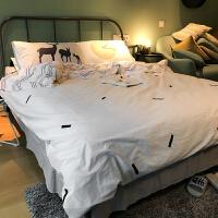 北欧风清新简约全棉四件套灰白色纯棉床上用品条纹被套床笠款夏季上新