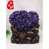 天然紫晶洞摆件紫水晶洞开口笑紫晶球钱袋子水晶聚宝盆原矿摆件