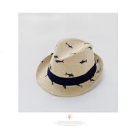 婴儿草帽男宝宝春夏秋爵士帽小童沙滩凉帽儿童礼帽遮阳帽潮帽1-201 黄色 S 帽围48┆约头围46~47┆~18个月