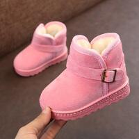 儿童雪地靴冬季新款韩版保暖女童靴短靴中筒靴宝宝鞋男童棉鞋 粉色