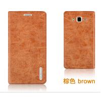 三星Galaxy ON7手机壳 G6000手机保护皮套 外壳 翻盖式耐用款后盖 三星 ON7-棕色