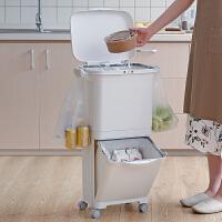RISU日本进口双层密封分类垃圾桶厨房防宠物垃圾筒带盖垃圾收纳箱