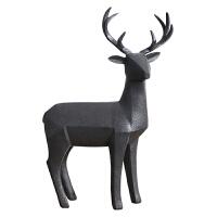 北欧几何犀牛动物摆件树脂猎豹雕塑装饰欧式酒柜电视柜豹子艺术品 细角麋鹿 粗砂岩