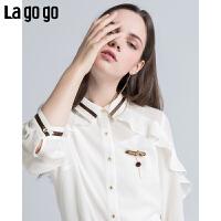 【5折价118.5】Lagogo/拉谷谷2018年夏季新款时尚学院风荷叶边女衬衫HACC334F22
