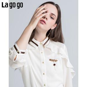 Lagogo/拉谷谷2018年夏季新款时尚学院风荷叶边女衬衫HACC334F22