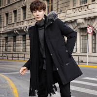 2018新款冬季男士外套羽绒服轻薄式韩版潮流工装加厚中长款白鸭绒