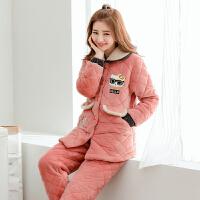 韩版冬季甜美可爱夹棉棉睡衣女加厚保暖秋冬天三层珊瑚绒家居服