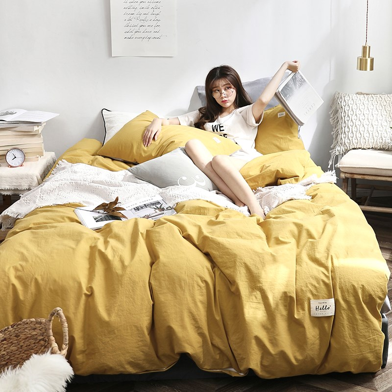 床单四件套防滑松紧带包边套素色超柔学生被套床笠单双人床上用品
