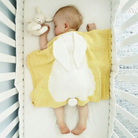 INS春秋季针织盖毯宝宝兔子白熊立体毛毯婴儿空调被抱毯推车毯