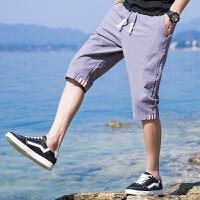 短裤男裤子男韩版潮流港风七分裤 男休闲裤沙滩裤男运动裤男宽松