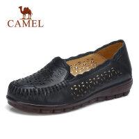 camel 骆驼真皮妈妈鞋2018夏新款皮鞋 镂空透气洞洞鞋女 平底舒适奶奶鞋