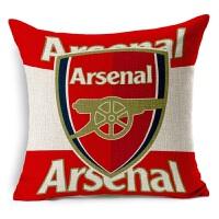 新款欧洲杯被枕 足球俱乐部 阿森纳足球抱枕亚麻棉麻沙发抱枕宜家汽车靠垫软装装饰枕阿森纳 红色 含棉芯