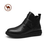 骆驼牌秋冬季新款复古短靴潮流格纹中跟切尔西靴子真皮厚底女鞋