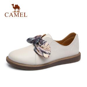 骆驼2018新款原宿风女鞋网红女鞋低跟蝴蝶结鞋子圆头浅口平底单鞋