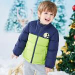 【3件2.6折到手价:139】迪士尼Disney童装 男童撞色拼接羽绒服冬季新品立领前开外套舒适保暖上衣194S119