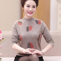 中老年0%纯羊毛衫女秋冬新款半高领中年人妈妈冬装毛衣加厚