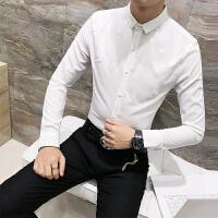 发型师衬衫男长袖修身韩版2018春装新款寸衫潮流帅气印花衬衣
